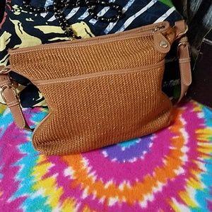 The Sak gold glitter and tan bag